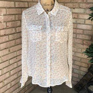 Paige Silk Button Up Shirt Size M